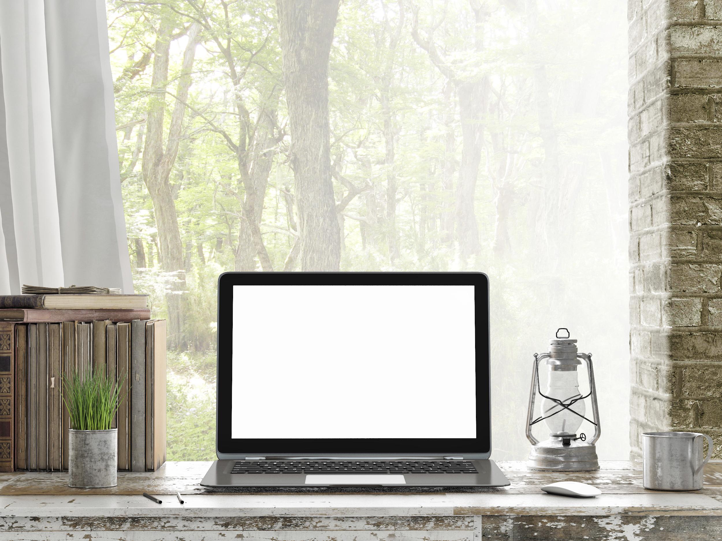 Mock up Laptop, Outdoor view_Medium